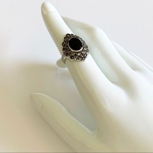Vintage Sterling Silver with Onyx Marcasites Ring